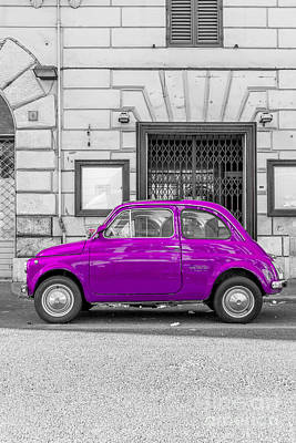 Purple Fiat 500 Rome Italy Art Print by Edward Fielding