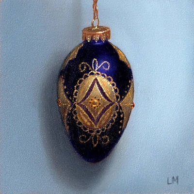 Painting - Purple Filigree Egg Ornament by Linda Merchant