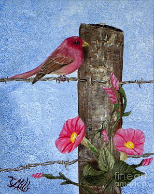 Purple Finch And Morning Glories Art Print by Terri Mills