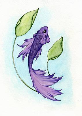 Painting - Purple Fish by Nora Blansett