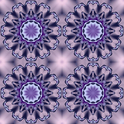 Digital Art - Purple Floral Fractal 4up by Ruth Moratz
