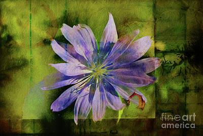 Abstract Digital Painting - Purple Flower Abstract by Deborah Benoit