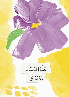 Note Card Painting - Purple Flower Thank You Card- Art By Linda Woods by Linda Woods