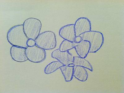 Drawing - Purple Flowers by Alohi Fujimoto