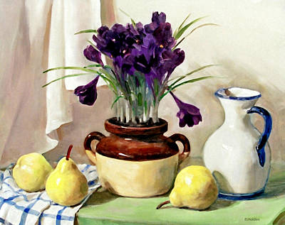 Painting - Purple Flowers And Pears by Robert Holden