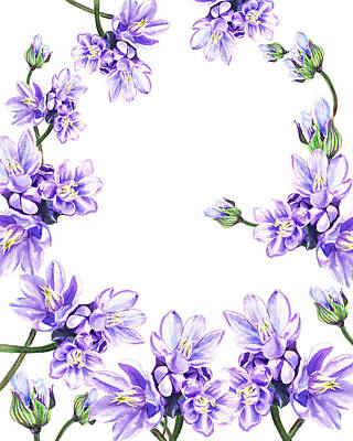 Painting - Purple Flowers Botanical Swirl  by Irina Sztukowski