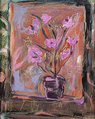 Pastel - Purple Flowers In Vase by Katt Yanda