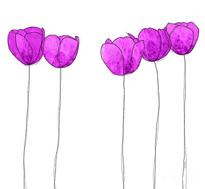 In A Row Mixed Media - Purple Flowers by J Ripley Fagence