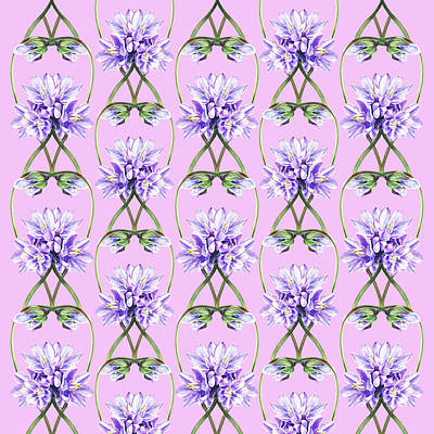 Royalty-Free and Rights-Managed Images - Purple Flowers Lace On Lilac Field by Irina Sztukowski