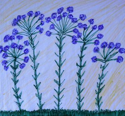 Mixed Media - Purple Flowers On Long Stems by Art Abbey