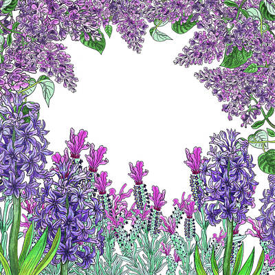 Hyacinths Wall Art - Painting - Purple Flowers Watercolor Garden  by Irina Sztukowski