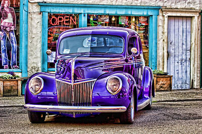 Old Hotrod Photograph - Purple Ford Deluxe by Carol Leigh