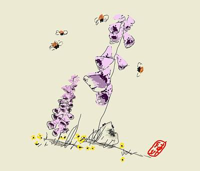 Digital Art - Purple Foxglove by Debbi Saccomanno Chan