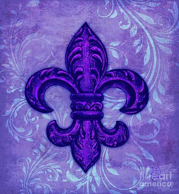Quebec Digital Art - Purple French Fleur De Lys, Floral Swirls by Tina Lavoie