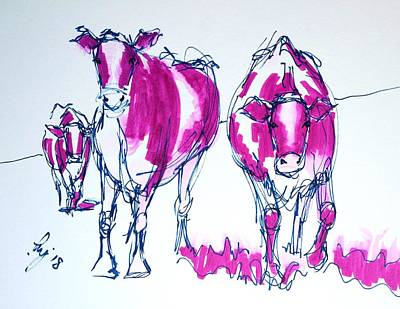 Drawing - Purple Friesian Holstein Cows Drawing by Mike Jory