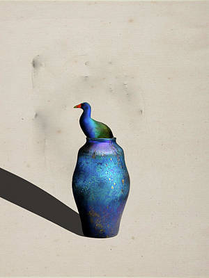 Digital Art - Purple Gallinule In The Vase by Keshava Shukla