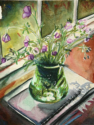 Painting - Purple Geraniums In The Sun by Trina Teele