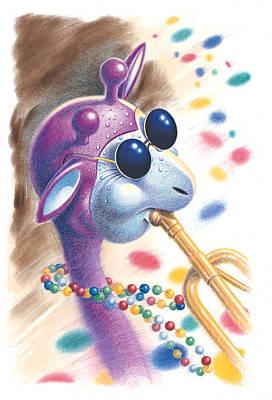 Music Drawing - Purple Giraffe by Todd Baxter