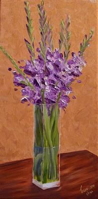 Gladiolas Painting - Purple Gladiolas by Sara Schwartz