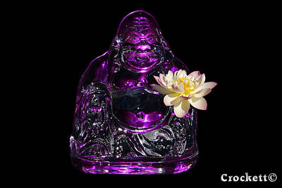 Photograph - Purple Glass Buddah With Yellow Lotus Flower by Gary Crockett