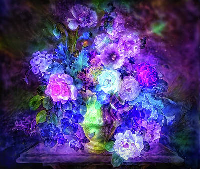 Mixed Media Royalty Free Images - Purple glow flowers Royalty-Free Image by Lilia D