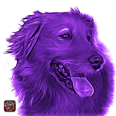 Digital Art - Purple Golden Retriever - 4057 Wb by James Ahn