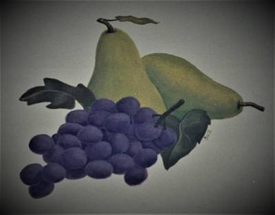 Painting - Purple Grapes And Pears by Suzn Art Memorial