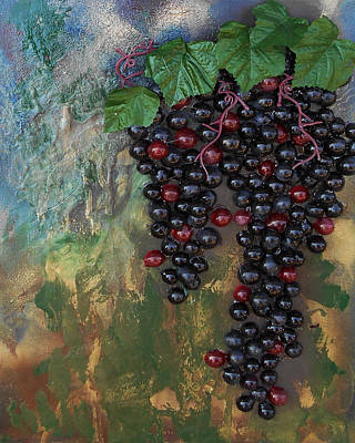 Mixed Media - Purple Grapes by Angela Stout