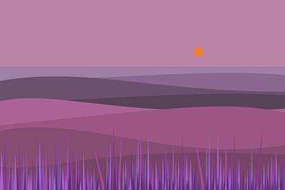 Digital Art - Purple Haze And Orange Sun by Val Arie