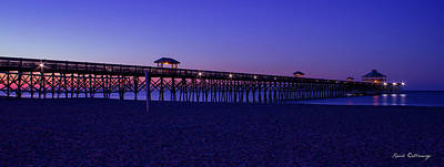 Photograph - Purple Haze Folly Beach Pier Sunrise Charleston Sc by Reid Callaway