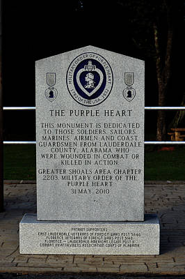 Photograph - Purple Heart Monument Lauderdale County Alabama Soldiers by Lesa Fine