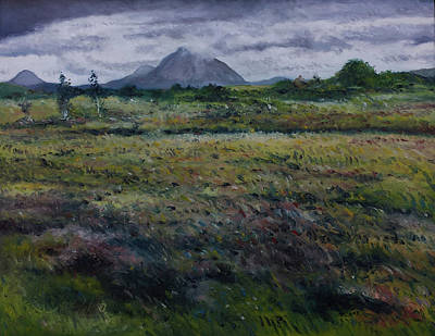 Painting - Purple Heather And Mount Errigal From Dore Co. Donegal Ireland   by Enver Larney