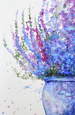Painting - Purple Heather In The Pot by Zaira Dzhaubaeva