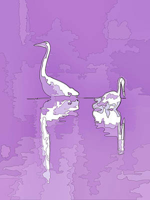 Photograph - Abstract Herons Purple by Keith Boone