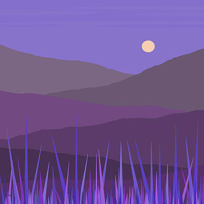Digital Art - Purple Hills - Lavender Sky by Val Arie