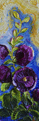 Purple Hollyhocks Print by Paris Wyatt Llanso