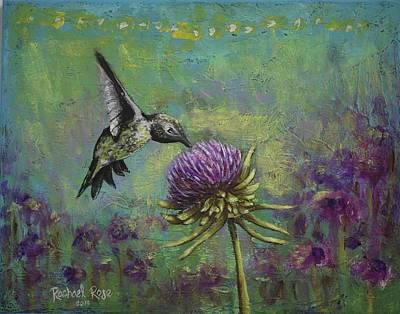 Fae Art Mixed Media - Purple Hummingbird Haze by Rachael Rose Zoller