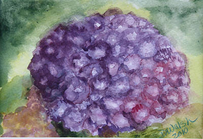 Art Print featuring the painting Purple Hydrangea by Donna Walsh