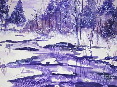 Art Print featuring the painting Purple Ice On Kaaterskill Creek by Ellen Levinson