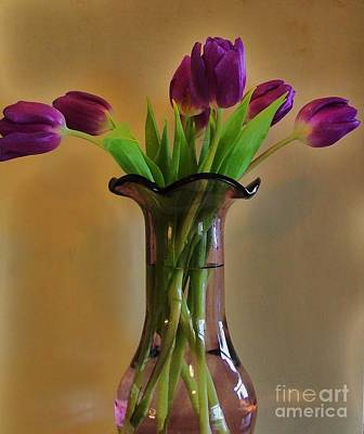 Backlit Tulip Photograph - Purple In Purple by Marsha Heiken