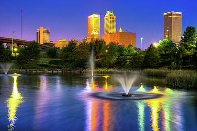 Photograph - Purple In The Sky - Downtown Skyline Of Tulsa by Gregory Ballos