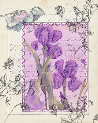 Print featuring the drawing Purple Iris by Cathie Richardson