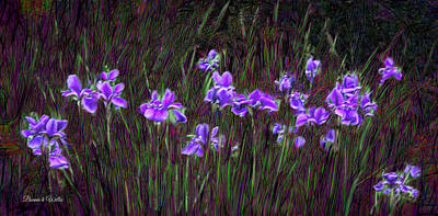 Digital Art - Purple Iris Field by Bonnie Willis
