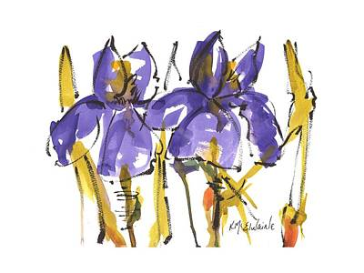 Painting - Purple Iris Garden Flowers by Kathleen McElwaine