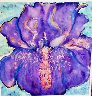 Wild And Wacky Portraits - Purple Iris  by Mary Shannon Hurst