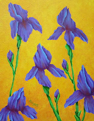 Purple Iris Original by Pamela Allegretto