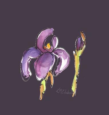 Painting - Purple Iris Reach Watercolor by Kathleen McElwaine