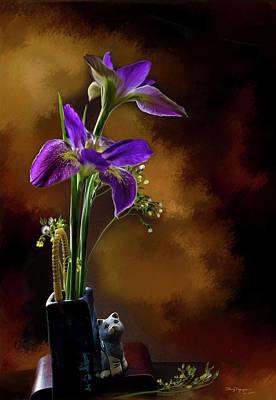 Purple Flowers Digital Art - Purple Iris by Thanh Thuy Nguyen