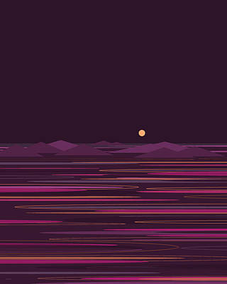 Abstract Seascape Digital Art - Purple Isle by Val Arie