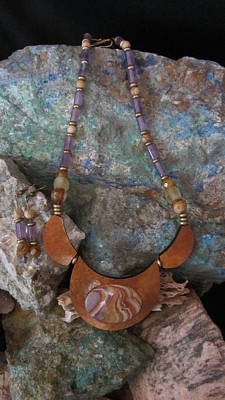 Jewelry - Purple Jasper Set In Gourd Wood #ff52 by Barbara Prestridge